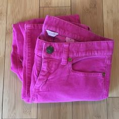 Hot Pink J. Crew Cords Hot pink! Cords that are well loved but still have life. Price reflects condition. No stains or tears but the jeans are worn in. Inseam is 26 inches. J. Crew Pants Skinny