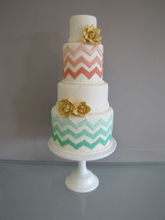 the chevrons make this cake so trendy and the colors are PERFECT !