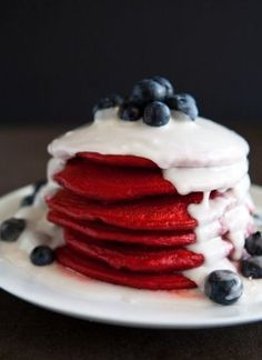 Red velvet pancakes with coconut syrup and blueberries. Happy Fourth of July!