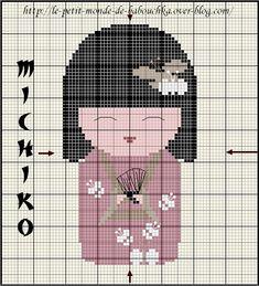 """Grande fan de Kimmidolls, j'ai trouvé sur le blog """"le petit monde de Babouchka"""" pleins de grilles magnifiques. Voici mon prochain objectif: Michiko ( signifie """"sage"""" ) Merci à Babouchka pour le travail réaliser sur ces grilles. Bonne soirée."""
