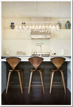 WOW! I usually lean towards metal, industrial bar stools, but these are modern, mid-century and fabulous!! Love!