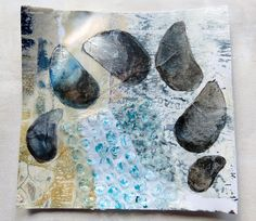 CAROLYN SAXBY: mussel shells - painting on mixed media collage