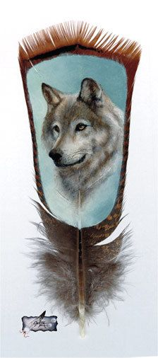 Items similar to Wolf, Gray, Native American Inspired Feather painting, print by ONETA on Etsy Feather Art, Painting On Feathers, Painted Feathers, Native American Wolf, Native American Crafts, Totem Pole Tattoo, Wolves And Women, Wolf Artwork, Animal Magic