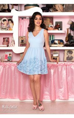 Pinup Girl Clothing- Parisian Periwinkle Dress in Blue | Pinup Girl Clothing