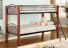 Twin Wood and Metal Bunk Bed Convertible - http://www.furniturendecor.com/twin-wood-and-metal-bunk-bed-convertible/