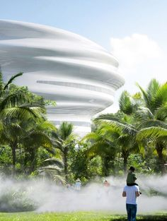 The Hainan Science and Technology Museum is being designed by MAD to serve as a major tourist attraction for Haikou, in which visitors can explore science, technology and nature. It is also the second project designed by the studio in the city to resemble a white cloud, with the other being the recently completed Cloudscape of Haikou, which opened in April 2021. Science Gallery, Mad Design, Haikou, Wetland Park, Space Gallery, Science Museum, Chinese Architecture, Construction Design