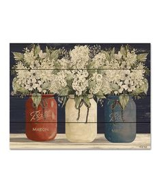 Look at this Red, White & Blue Mason Jars Wood Pallet Wall Art Wall Canvas, Blank Canvas, Pallet Wall Art, Blue Mason Jars, Color Pencil Art, Wood Pallets, Red And White, Artwork, Sofa