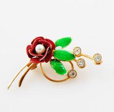 Vintage Dark Red Flower Brooch by VintageDandelion on Etsy, $13.00 #vintagebrooch #vintagejewelry #etsy