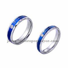 anillo de diseno moda azul en acero plata inoxidable para amantes -SSRGG971717