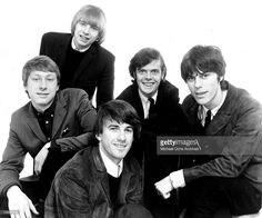 Rock band 'The Yardbirds' pose for a portrait in 1965. (L-R) Chris Dreja, Keith…