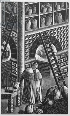 """The Grain Store"" by Eric Ravilious from 'The Famous Tragedy of the Rich Jew of Malta', written by Christopher Marlowe (1564-93), published in 1932 (woodcut)"