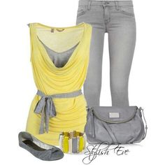 Yellow and grays. Yellow and gray scoop neck tie waist shirt gray jeans, flats and purse. Really like this spring outfit Dress Up Outfits, Outfit Sets, Spring Outfits, Cool Outfits, Casual Outfits, Fashion Outfits, Women's Fashion, Night Outfits, Fasion