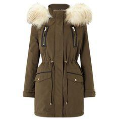 Buy Miss Selfridge Luxe Parka Jacket, Khaki Online at johnlewis.com