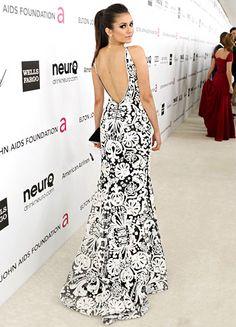 Nina Dobrev in a black and white Naeem Kahn dress
