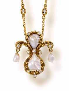 An antique freshwater pearl, diamond and fourteen karat gold Pendant Necklace, Marcus & Co., ca 1905.