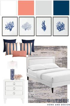 coastal bedroom Shop the Look of the Modern Coastal Master Bedroom and redo your master bedroom with Coastal Master Bedroom, Coastal Bedrooms, Master Bedroom Design, New Furniture, Coastal Furniture, Dreams Beds, Modern Coastal, Navy Paint, Coral Accents
