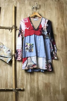 The most fun up-cycled romantic soft patchwork tunic one