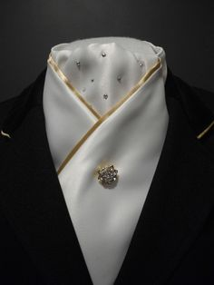 White and gold crossover show or dressage stock by Equestrian Pzazz http://facebook.com/equestrian.pzazz