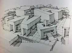 hand renderings buildings formed by letters