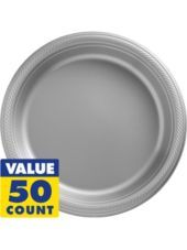5 of these......................... Silver Plastic Dinner Plates 50ct - Party City