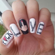 anti valentine's day nail art