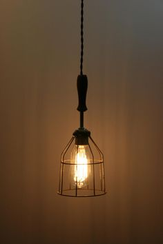 Industrial Hanging Pendant Light - Swag Light - with Vintage Style Wire Cage Guard - Hanging Lamp with Vintage Style Cloth Covered Cord Light, Pendant Lamp, Hanging Pendants, Light Fixtures, Industrial Hanging Lights, Wood Pendant Light, Hanging Lights, Hanging Pendant Lights, Light Fixtures Bathroom Vanity