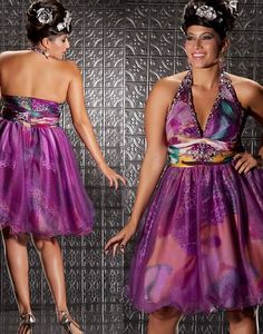 30ca1d11b42 MacDuggal Fabulouss Purple Print Short Plus Size Prom Dress