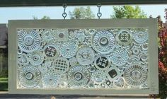 Clear glass crystal dishes repurposed into window; artist unknown; Upcycle, Recycle, Salvage, diy, thrift, flea, repurpose, refashion!  For vintage ideas and goods shop at Estate ReSale & ReDesign, Bonita Springs, FL