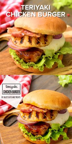 Love a chicken burger? This one is BURSTING with flavor. Marinated Teriyaki Chicken Breast that is grilled then piled on a bun with grilled pineapple, cheese, bacon, onion lettuce and more! Grab this burger recipe for dinner tonight! Grilled Chicken Burgers, Grilled Burger Recipes, Chicken Sandwich Recipes, Gourmet Burgers, Grilled Chicken Recipes, Teriyaki Chicken Burger Recipe, Chick Fil A Spicy Chicken Recipe, Teriyaki Chicken With Pineapple, Fancy Burgers