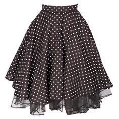 This short black polka dot skirt compliments any 50s style top. The shortness of the garment and lace trim brings the naughty side out of you and goes well with a playful look. Combine the skirt with a pair of our trendy heels, a beautiful corset, and a chic cardigan for an astonishing outfit. Zip Closure Do Not Iron, Cool Wash 30C