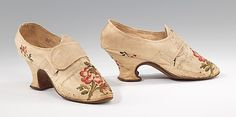 Shoes Thomas Ridout (British)  Date:     1750–70 Culture:     British Medium:     silk Dimensions:     3 1/2 x 9 1/2 in. (8.9 x 24.1 cm) Accession Number:     2009.300.1406a, b