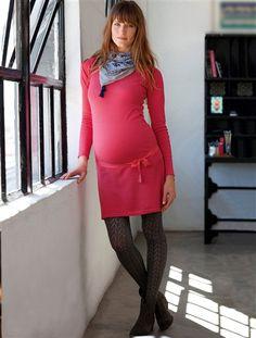 Robe coton cachemire de grossesse XX-GRIS+ROSE FONCE+NOIR - vertbaudet enfant