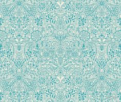 Detailed Floral Pattern in Teal and Cream