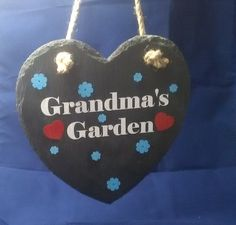 Grandma's Garden slate heart Grandmas Garden, Slate, Christmas Ornaments, Holiday Decor, Handmade Gifts, Heart, Creative, Crafts, Kid Craft Gifts