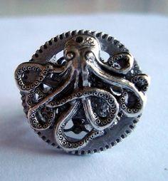 "Victorian Steampunk ""Octopus The Machine"" Gear Ring   eBay"