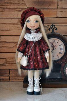 Textile doll, decorative doll, collector dolls, doll cotton, rag doll