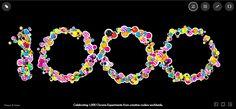 In 2009 werd Google Experiments gelanceerd. Dit project werd opgericht om het werk van programmeurs te tonen die de grenzen van html5 en JavaScript oprekten. Ondertussen is het 1000ste experiment onthuld. Om dit te vieren heeft Google een speciaal experiment gemaakt om alle andere experimenten te visualiseren. Neem een kijkje op : http://1000.chromeexperiments.com/