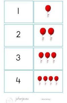 Rekenmemory:  zoek het juiste cijfer bij het juiste aantal ballonnen.  Doel… Calendar, School, Holiday Decor, Birthday, Cards, Dyscalculia, Atelier, Birthdays, Life Planner