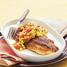 A combination of a few pantry spices lends authentic Cajun flavor to catfish. The Sautéed Corn and Cherry Tomatoes are delicious served alone as a side dish or as a relish spooned over the catfish.