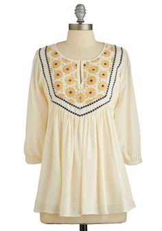Aesthetic Appeal Top. With boho attitude and embroidered artistry, this cream blouse distinguishes your whole ensemble. #cream #modcloth