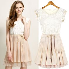 Find More Dresses Information about 2015 New Design Short Sleeve Casual A line Short Lace Dress Cute Elegant Plus Size Chiffon Dress For Ladies,High Quality dress hip,China dress patterns prom dresses Suppliers, Cheap dresses dance from Fashion things store on Aliexpress.com