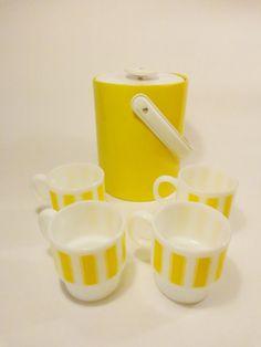 Vintage Yellow Mugs and Ice Bucket Set by KaBoomerangVintage
