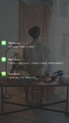 how he is so perfect? Namjoon, Jimin Jungkook, Message Wallpaper, Bts Wallpaper, Kpop, Love You Messages, Bts Love, Bts Summer Package, Bts Texts