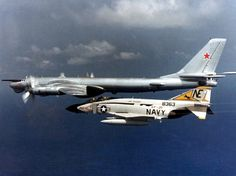 "American F-4 Phantom intercepting a Soviet Tu-95 ""Bear"" bomber over the Pacific in 1979"