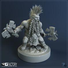 Dwarf Slayer Picture  (3d, character, fantasy, dwarf, warhammer, axe, slayer, warrior) - the HAIR!