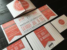 Coral & Grey Custom Fold Wedding Invitation by TheDesignBrewery