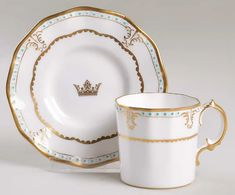 Lombardy Flat Demitasse Cup & Saucer Set by Royal Crown Derby | Replacements, Ltd.