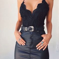 $60 Cute Chic Sexy Lace Trim Black Cami Strappy Bodysuit With Leather Black High Waisted Mini Skirt