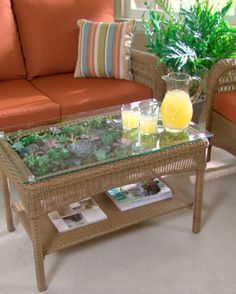 Transform a Table into a Terrarium: with just a few tools and our step-by-step instructions, transform the Charlottetown Coffee Table from the Martha Stewart Living Collection at Home Depot into a terrarium table. Coffee Table Terrarium, Diy Terrarium, Diy Furniture, Outdoor Furniture Sets, Living Furniture, Furniture Projects, Diy Projects, Small Patio Spaces, Small Space