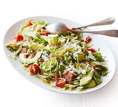 Stir crispy fried bacon and pesto into orzo pasta for a quick dinner or easy packed lunch